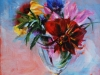 bloemen in een glazen vaas, maat 20 x 20 cm op doek (Verkocht)