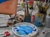 acrylverf en eerste opzet schilderij